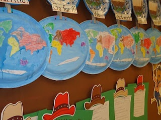 Paper Plate Continents...im thinking this would be easier than the paper mache ones the new SS curriculum wants me to do!