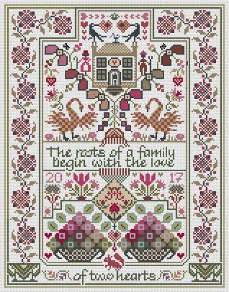 The Love Of Two Hearts is the title of this cross stitch pattern from Long Dog Samplers.