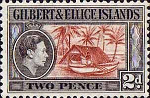 Gilbert and Ellice Islands 1939 SG 46 Canoe and Boathouse Fine Mint SG 46 Scott 43 Other Gilbert and Ellice Islands Stamps HERE