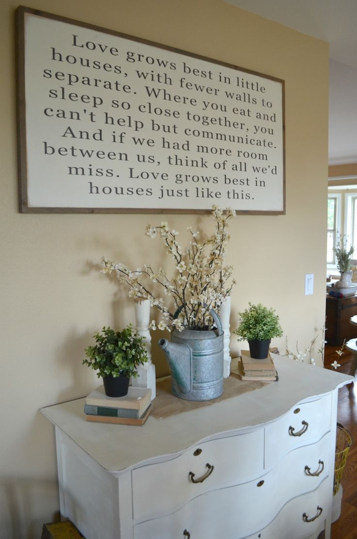 Modern farmhouse dining room makeover beautiful dining room makeover - Love Grows Best In Little Houses Sign Dining Room