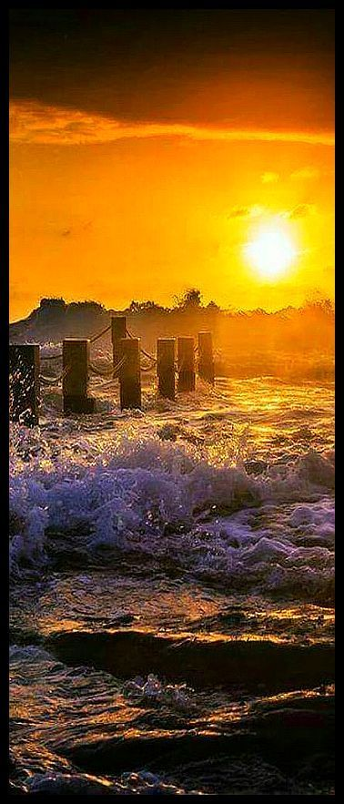 beautiful SUNSET #by bay b #sun sky  beach wave sky yellow seascape nature amazing