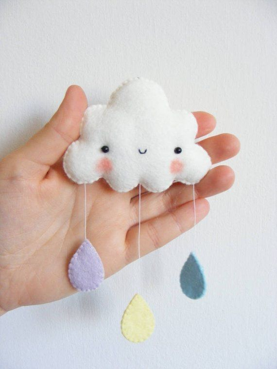 Felt PDF pattern Rainbow and clouds baby crib mobile Felt | Etsy