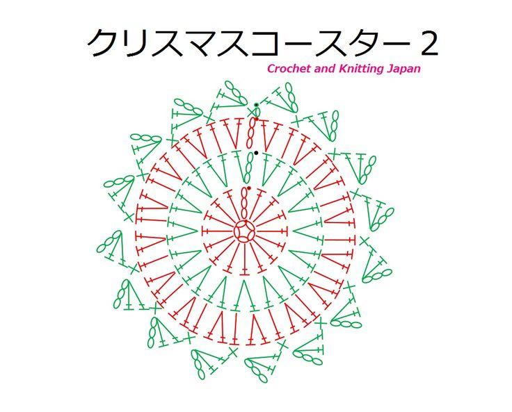 クリスマスのコースター 2【かぎ針編み】How to Crochet Christmas Coaster https://youtu.be/knG6stHmMnw 字幕と編み図で解説しています。 長編みの円編みを3段目まで作り、4段目で縁取りをします。 赤と緑のクリスマスカラーのコースターです。 ★編み図は、こちらをご覧ください。