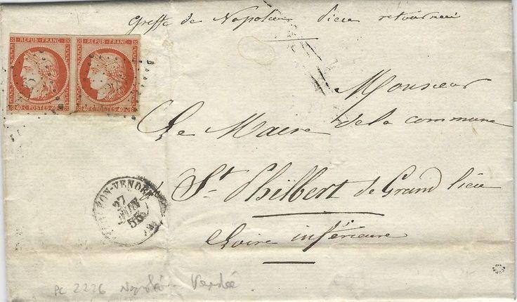 Cérès N°5 paire oblitéré PC 2226 Napoléon Vendée 1855 sur l'acte d'état civil. R