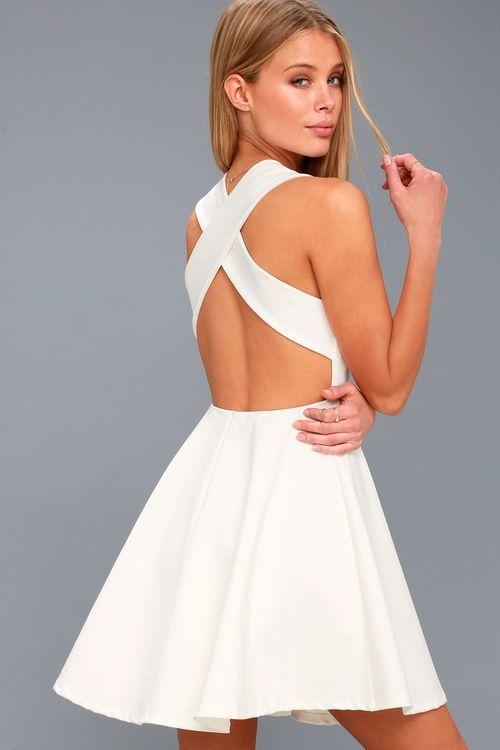 4e5739a3dc6c Lulus | Going Steady White Backless Skater Dress | Size Medium | 100 ...