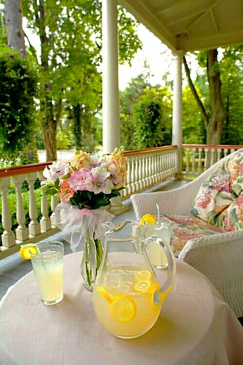 On the porch with some lemonade.