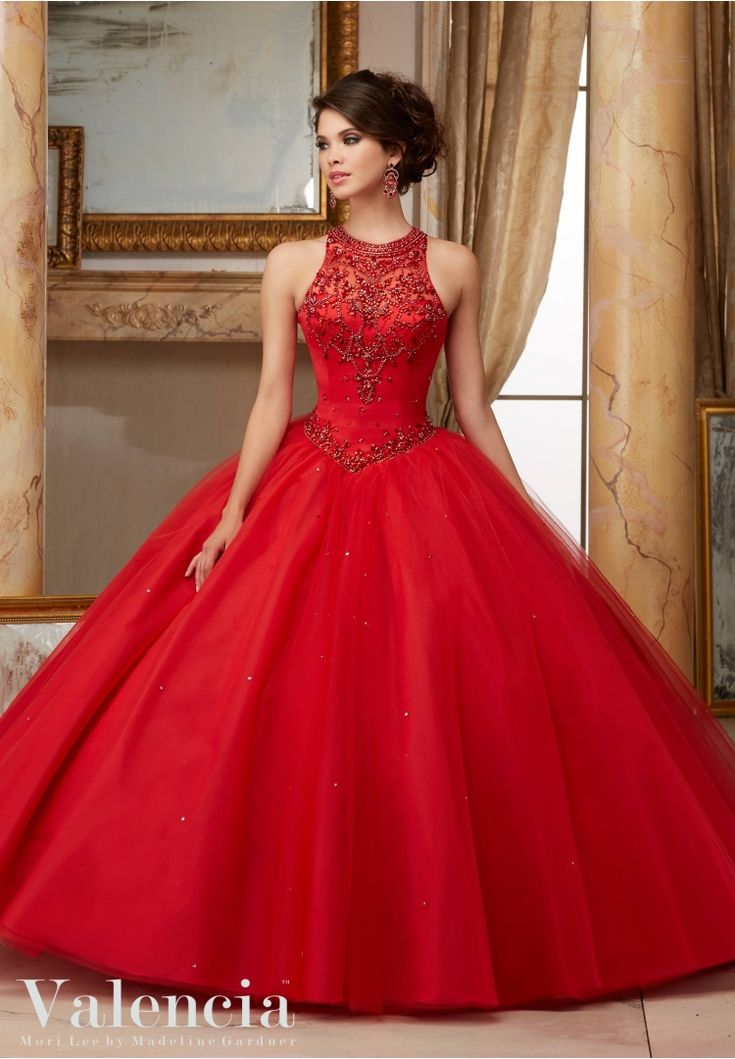 60008 Quinceanera Gowns Jeweled Beaded Satin Bodice on Tulle Ball Gown