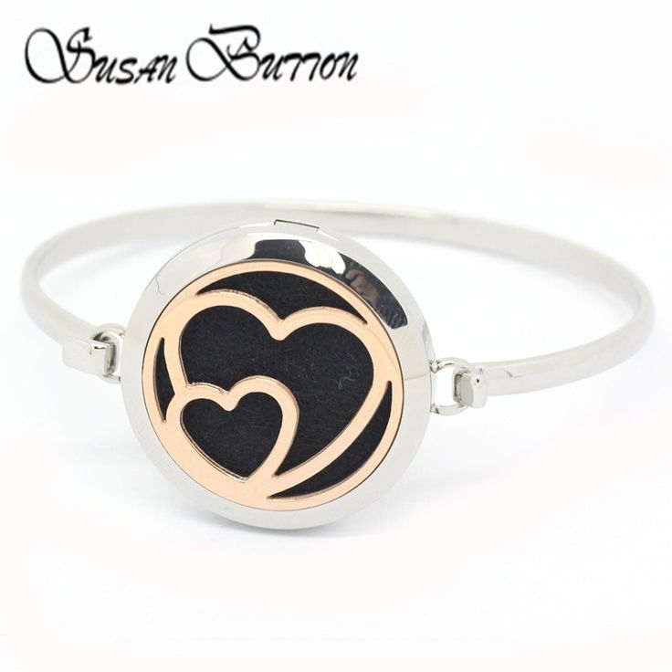 Rose Gold Double Heart Essential Oils Diffuser Locket Bangles Stainless Steel Aromatherapy Perfume Locket Bracelets Jewelry #Affiliate