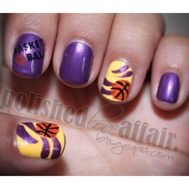 """Change the yellow nail to silver, put a puck instead of a b-ball, and write """"kings"""" on the first nail.  The perfect playoff manicure!"""