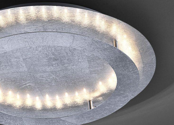 LED-Deckenleuchte Nevis, silberfarbenes, gehämmertes Metall – Durchmesser ca. 30 cm #silber #beleuchtung #led #leuchte #leds #light