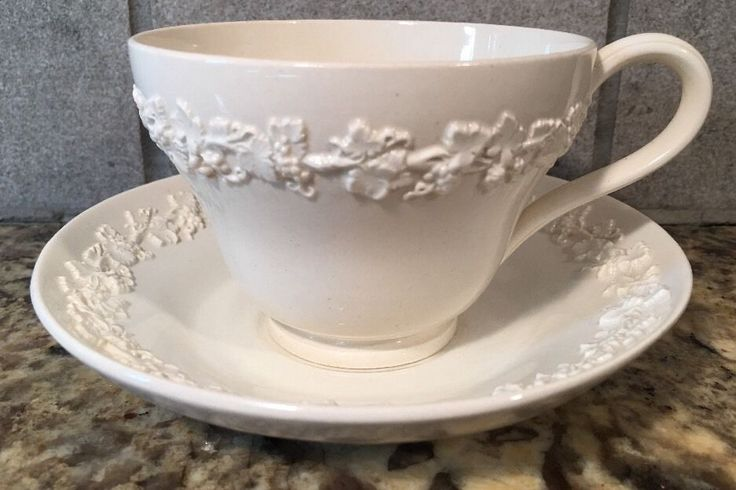 WEDGWOOD Etruria Embossed Queensware CREAM on CREAM Tea Cup & Saucer #WEDGWOOD