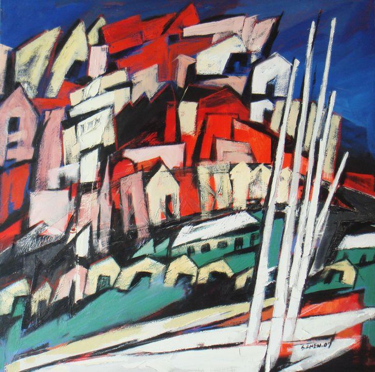 湾.枙.房子 油画 100x100cm oriental bay wellington oil on canvas 2007