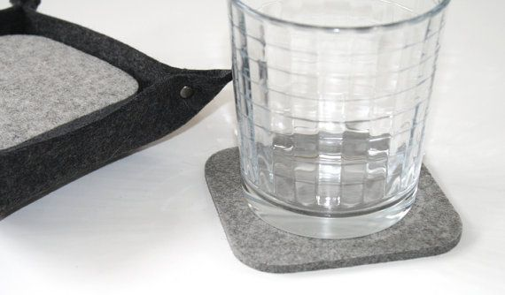 Square Felt Drink Table Coaster Holder Set Tabletop Accessories Ecofriendly Sustainable Barware Bar Decor Housewarming Hostess Gift
