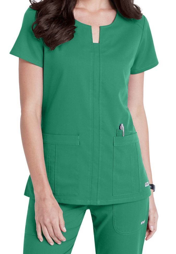 The 3-pocket notched neck scrub top will make a wonderful addition to your lineup! Plenty of pocket room is available with two large front pockets plus a fashion inset pocket and inside PDA pocket.
