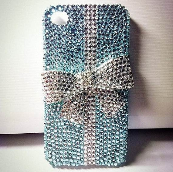 Bling Swarovski Crystal with Bowknot iPhone case Rhinestone Tiffany Inspired iPhone Case for iPhone 4 case ,iPhone 4s cases. $24.99, via Etsy.