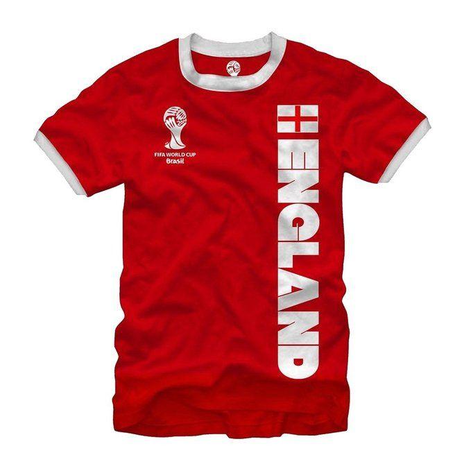2014 Fifa World Cup Ringer Jersey England T-Shirt Medium Red - graphic -  tshirt
