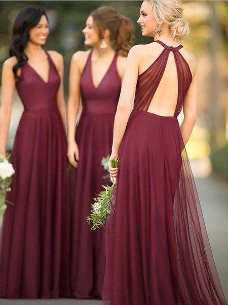 Schönes ärmelloses langes Brautjungfernkleid mit V-Ausschnitt und offenem Rüc… – Bridesmaids dresses
