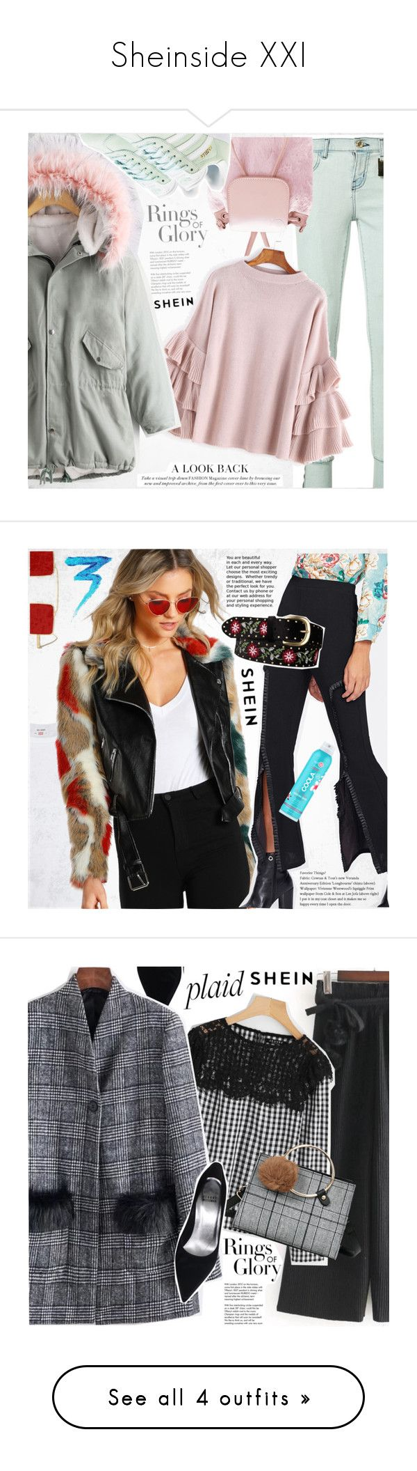 """""""Sheinside XXI"""" by vanjazivadinovic ❤ liked on Polyvore featuring Sheinside, Tiffany & Co., Thomas Wylde, adidas Originals, plaid, stripedpants, polyvoreeditorial, RE/DONE, COOLA Suncare and Givenchy"""