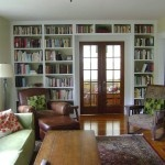 A wall of built-in bookcases