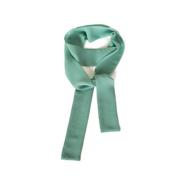 Bona Drag Mint Skinny Scarf (907.960 VND) ❤ liked on Polyvore featuring accessories, scarves, mint green scarves, long scarves, long silk scarves, pure silk scarves and silk shawl