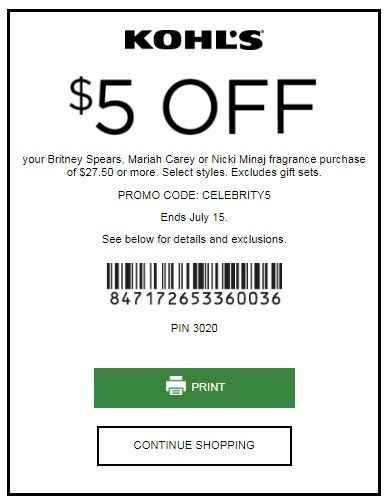 KOHLS COUPONS: SAVE $5 OFF $27.50 YOUR BRITNEY SPEARS, MARIAH CAREY OR NICKI MINAJ FRAGRANCE
