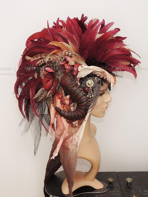 Haarschmuck & Kopfputz - Headdress,Irokese,Helmschmuck,Fashion,Kopfschmuck - ein Designerstück von Maskenzauber bei DaWanda