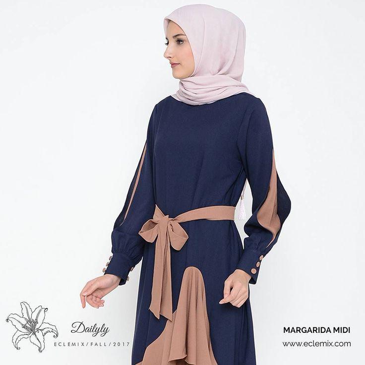 Fresh from dailyly collection. . MARGARIDA MIDI . Tersedia dalam 4 pilihan warna : navy choco cream dan pink. . Check sekarang juga hanya di www.eclemix.com ya ladies.. . #eclemix #fashion  #beauty  #ootd #hijab #hijabfashion #bandung #localbrandindonesia
