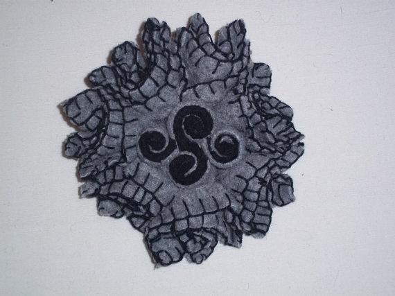 Light grey felt flower brooch with grey felt rolls by TzoFeltGood