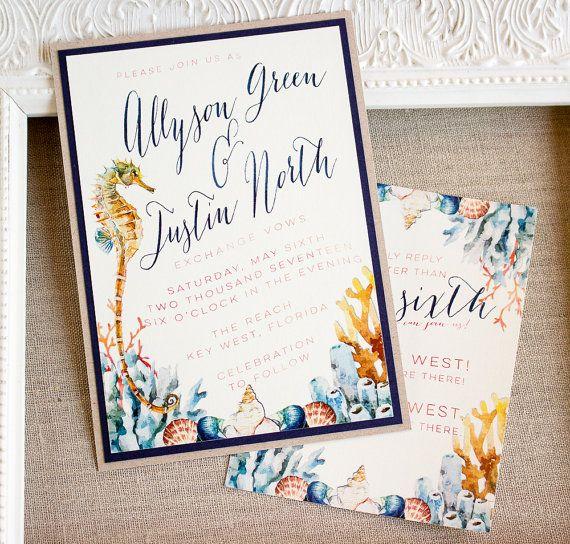 Watercolor Seahorse Wedding  Invitation by SunshineandRavioli