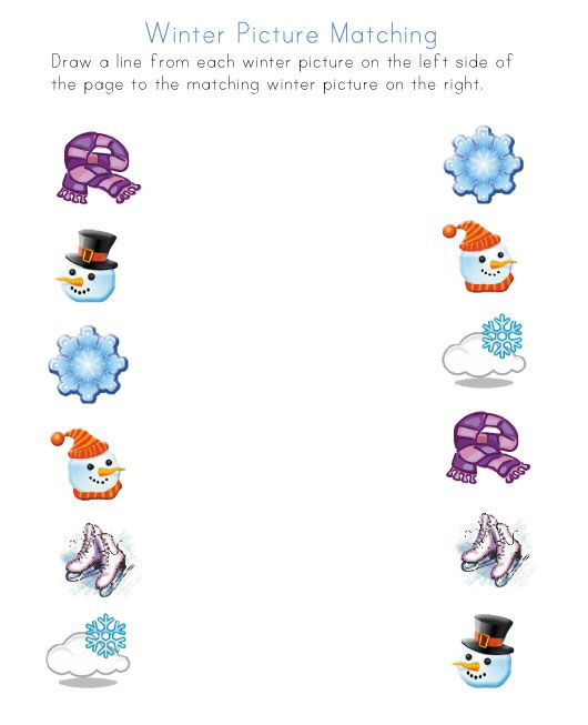 winter worksheets for several different skills