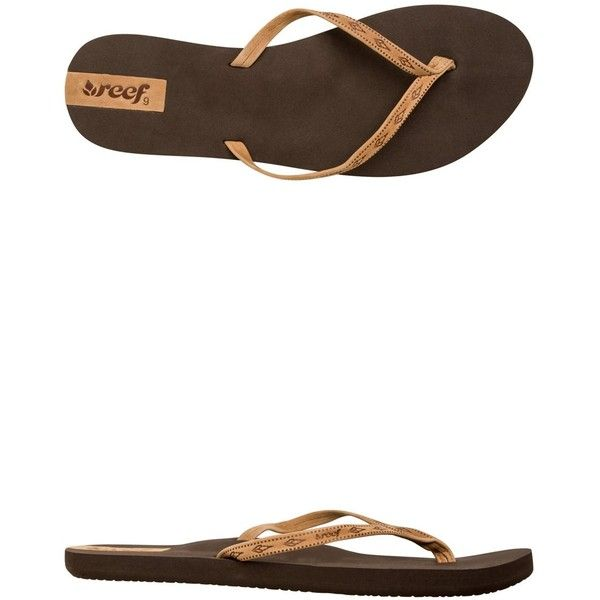 Reef Slim Ginger Leather Sandal (47 CAD) ❤ liked on Polyvore featuring shoes, sandals, brown, brown leather sandals, tribal shoes, tribal sandals, anchor shoes y genuine leather shoes