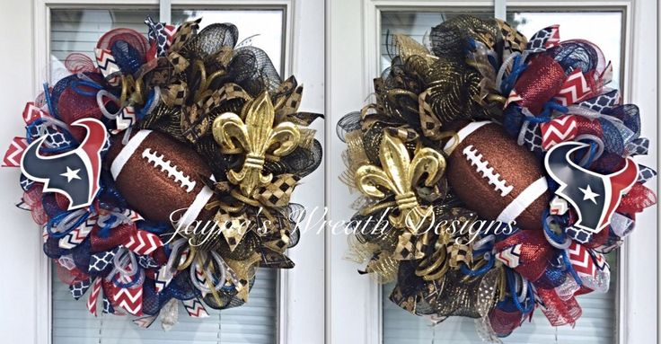 House Divided Houston Texans/ New Orleans Saints Football Wreath with Fleur de Lis and Toro. For double doors.   Jayne's Wreath Designs on FB and Instagram