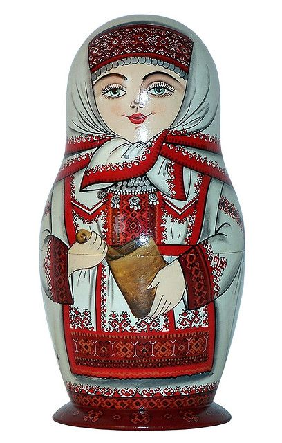 Matryoshka Nesting Doll in Traditional Folk (Ukraine or Belarus) Dress. http://www.pinterest.com/MatryoshkasSoap/one-of-a-kind-matryoshka/