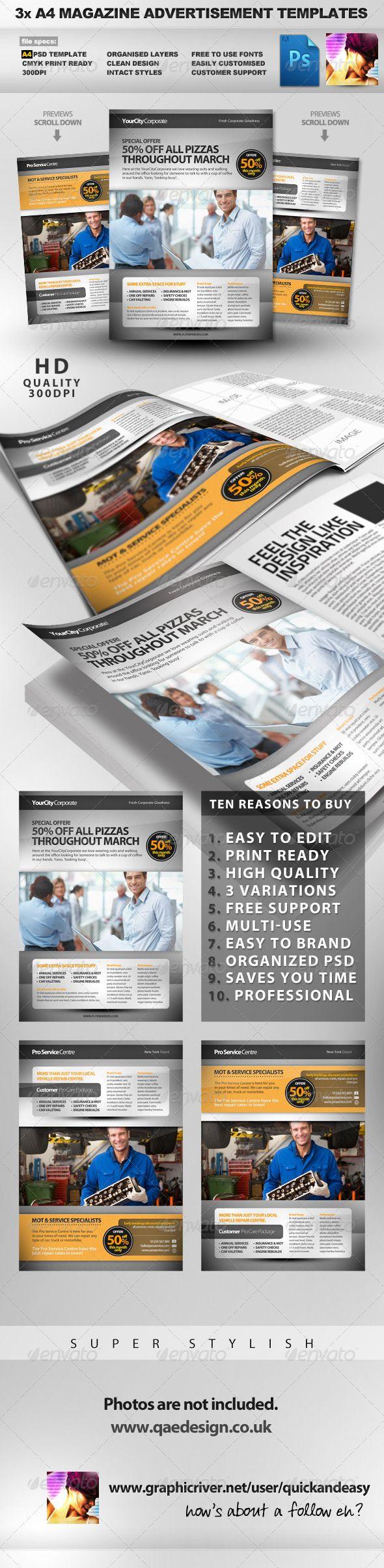 Pro Services A4 Magazine Advertisement Templates 2  #GraphicRiver                   A4