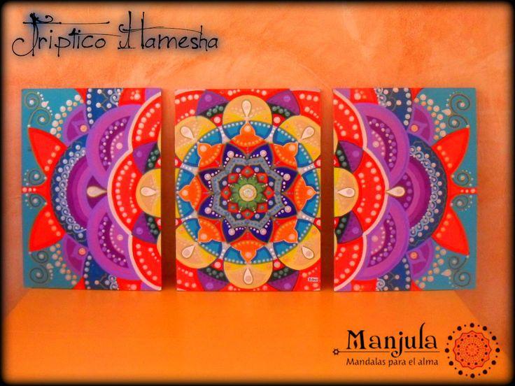 """""""HAMESHA"""" Hamesha en el idioma hindi significa """"POR SIEMPRE"""", nos remite a un sentimiento de mágica eternidad, el mismo que se respira en toda INDIA.  Cuadro Mandala tríptico  ⚫Técnica: acrílicos sobre madera con detalles de gemas ⚫Medidas: Total 1 metro de ancho x 40 cm. de alto (30 cm. x 40 cm. cada parte)"""