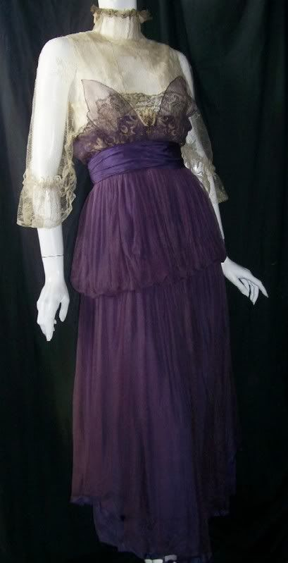Edwardian dress of silk and gilded lace in deep violet and ecru with butterfly wing effect at bust #Edwardian #purple