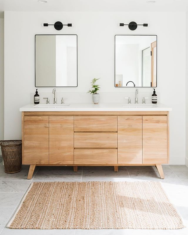 Beautiful Modern Bathroom Renovation With Light Wood Matte Black Details And Marble Floors Modern Bathroom Renovations Modern Bathroom Modern Bathroom Design