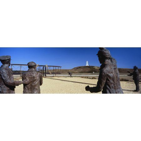 Wright Flyer sculpture at Wright Brothers National Memorial Kill Devil Hills Kitty Hawk Outer Banks North Carolina USA Canvas Art - Panoramic Images (27 x 9)