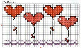 ♥ Korsstygns-Arkivet ♥: HJÄRTBALLONGER-KORSSTYGNSMÖNSTER