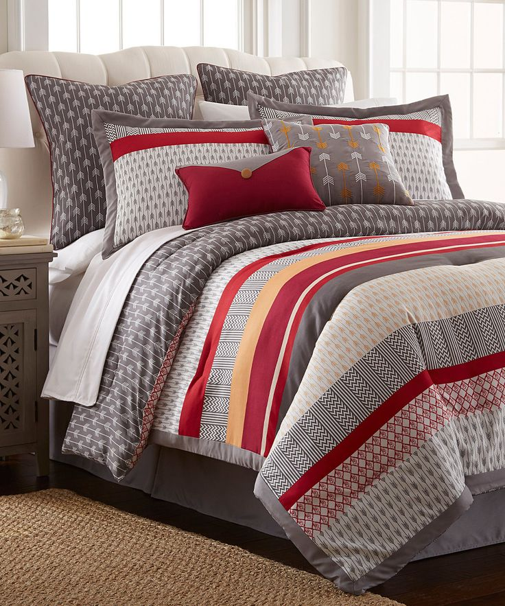 Look At This Red Amp Gray Tangiers Eight Piece Comforter Set