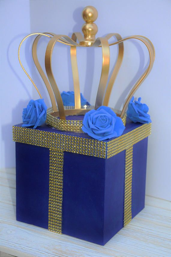 Royal Prince Crown Centerpiece Box Royal Blue and Gold with Bling Mesh for Royal Prince Baby Showers, Birthdays, Christening