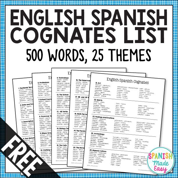 This is a list of 500 English-Spanish cognates divided into 25 vocabulary themes. Learning cognates is a fun and easy way to quickly build your students Spanish vocabulary. This is also a great resource to help teachers of bilinguals.