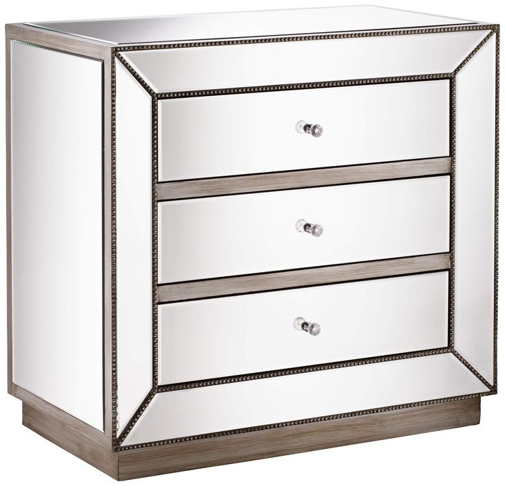 Maci Antique Silver 3-Drawer Mirrored Accent Chest - #2N411 | Lamps Plus