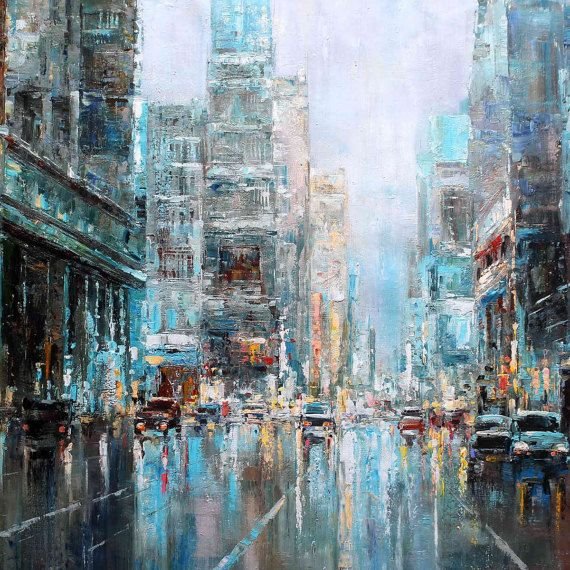 36X48  Blue Manhattan New York City  018 by LuigiPaulini on Etsy