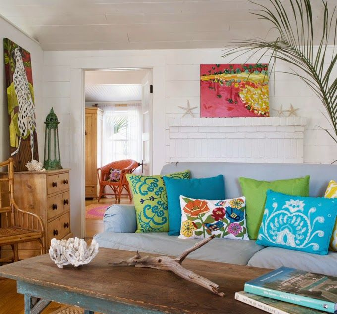 Colorful Beach House Living Room