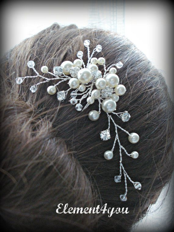 Bridal Hair Pin , swarovski ivory peals rhinestone accent crystals hair vines