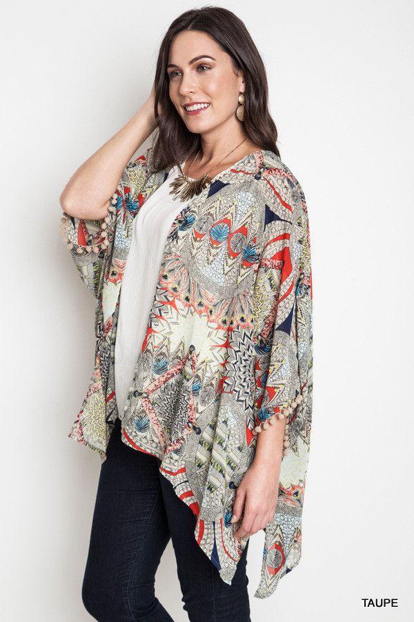 Umgee Plus Feather Kimono Cardigan