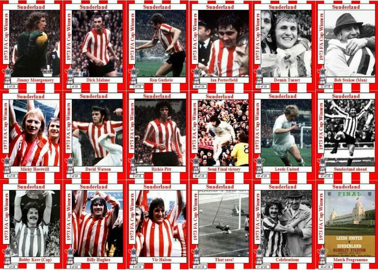 Sunderland team stickers for the 1973 FA Cup Final.
