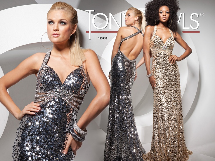 Sequin prom dress with slight �v� neckline, criss-cross back straps, low open back, � � ��cut-out sides accented by beaded bands and fitted skirt with back train.Sizes 0 - 16 Bridesmaids?