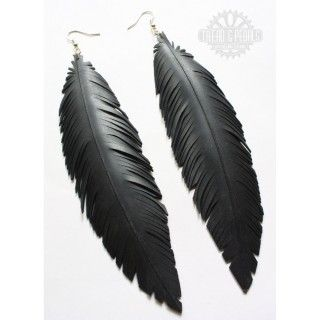Raven Earrings, handcrafted from a recycled bicycle inner tube.